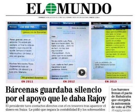 El Mundo alleges Barcenas exchanged his silence for the support of Spanish premier