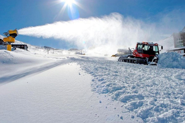 Snow making adding to natural snowfalls in the Sierra Nevada