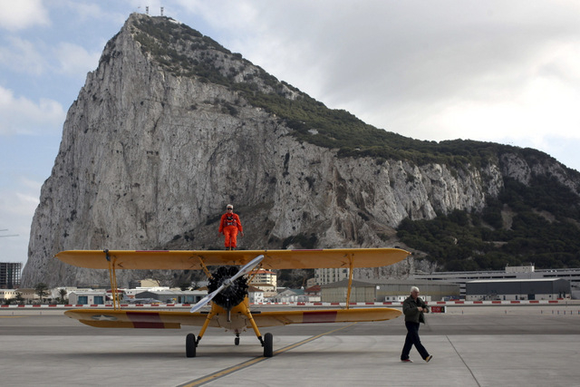 94-year-old British wing-walker flies around Gibraltar