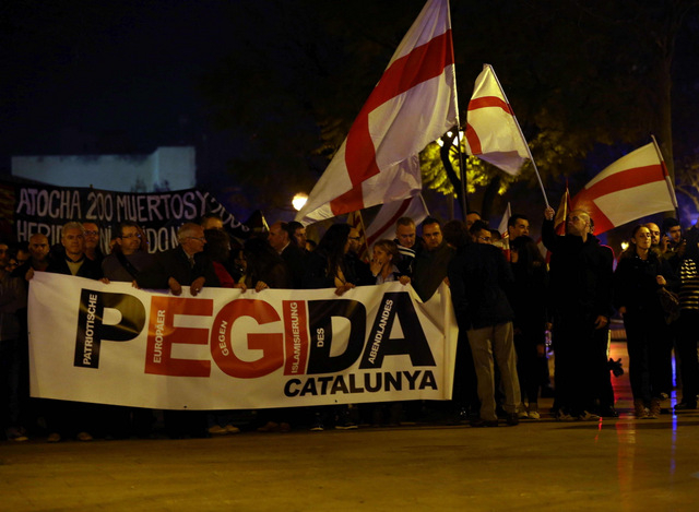 Anti-Islamic demonstration staged in Barcelona