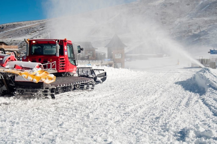 Snowmaking underway in Sierra Nevada