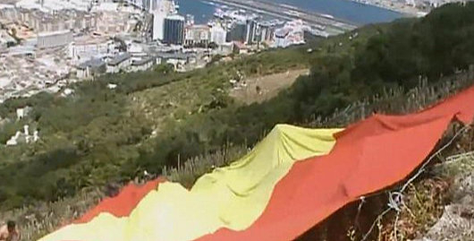 Vox activists unfurl giant Spanish flag on the Rock of Gibraltar