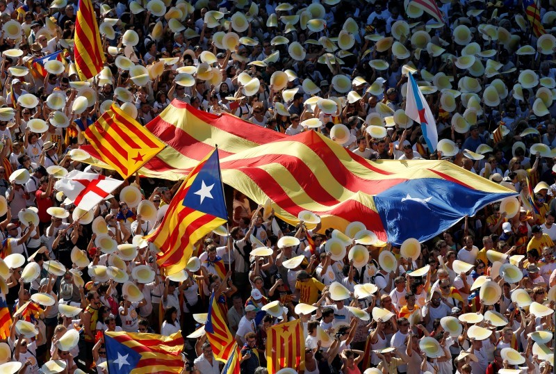 Catalans rally in support of independence from Spain on the day of La Diada