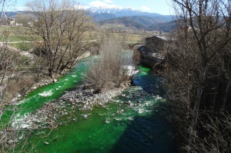 Catalunya river turns fluorescent green