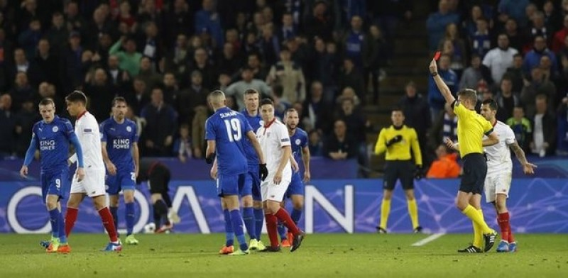 Sevilla's Nasri brands Vardy 'a cheat' after red card