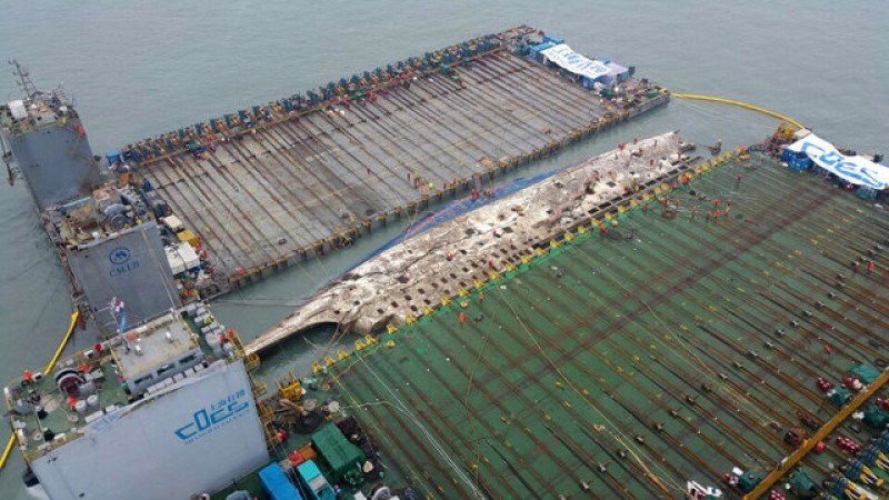 Sunken South Korean ferry slowly emerges three years after disaster