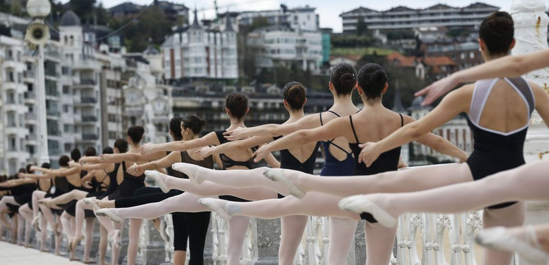 Ballet on the beach front in San Sebastian