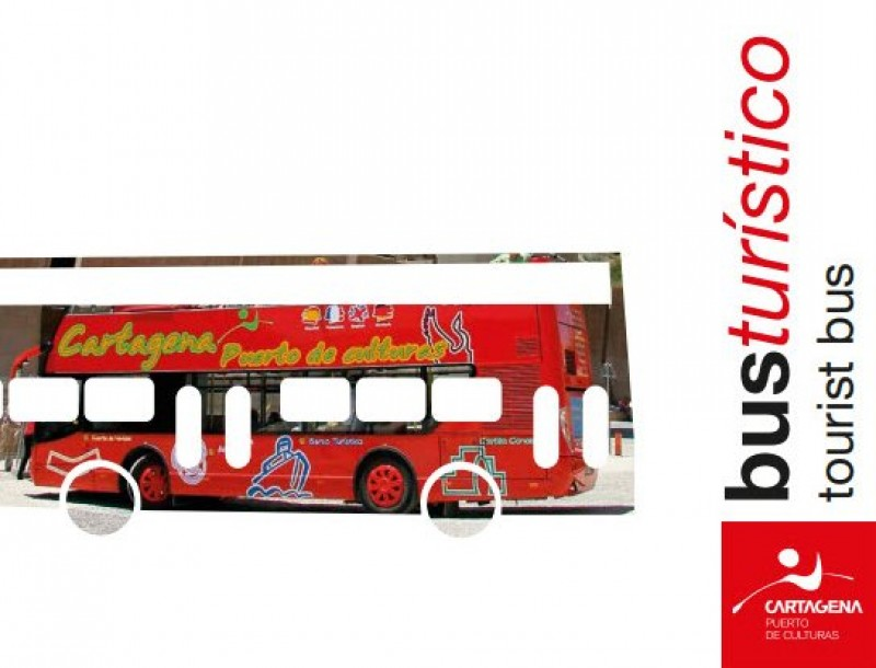 The tourist bus in Cartagena, enjoy the sights of the historic city on an open-air double decker