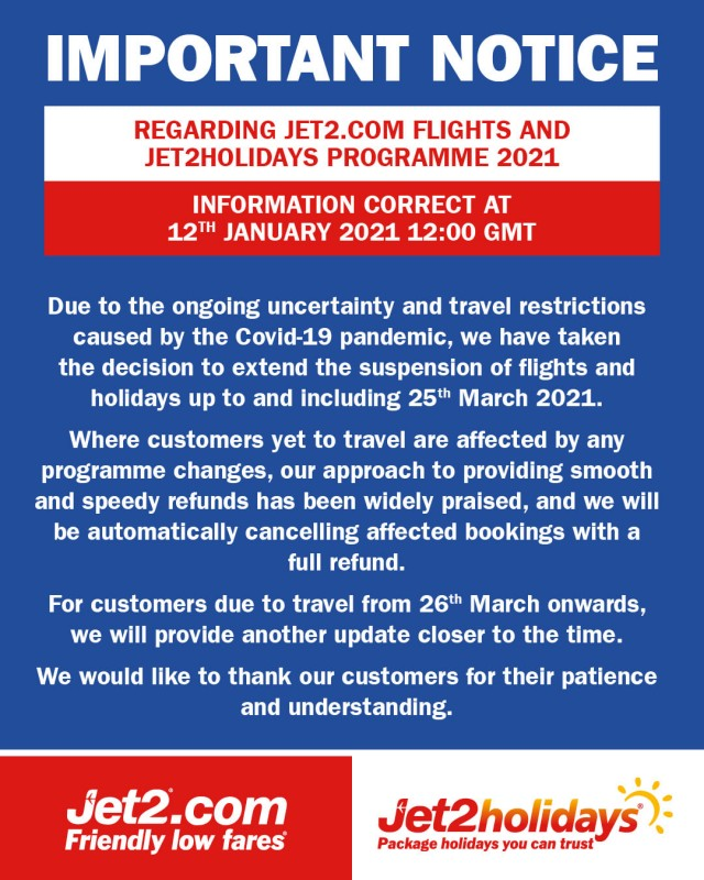 <span style='color:#780948'>ARCHIVED</span> - Jet2 extends flights and holidays suspension until 25th March: Spain, Region of Murcia, Alicante