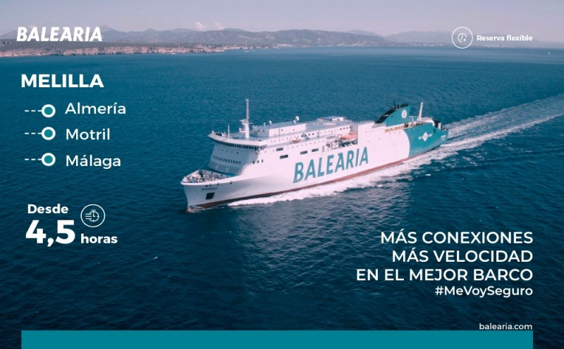 <span style='color:#780948'>ARCHIVED</span> - Balearia amplifies ferry connections between Andalusian coast of Malaga, Motril and Almeria to Melilla