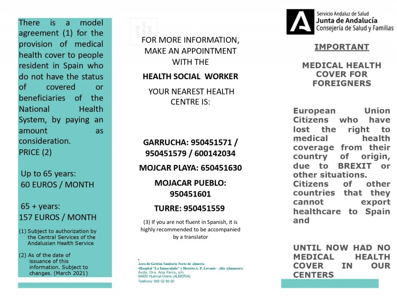 Mojacar council supporting convenio especial healthcare payment scheme for foreign nationals