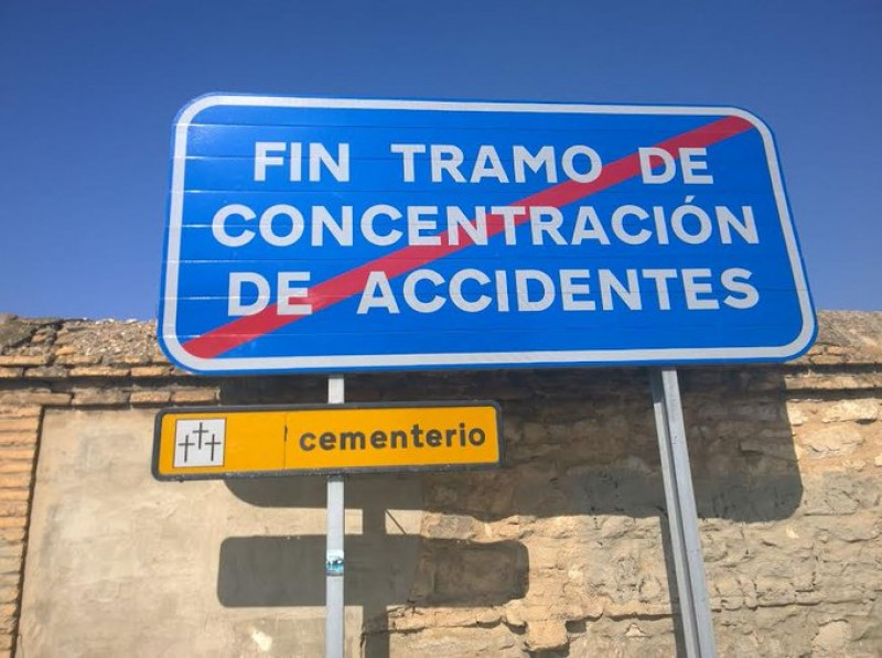 Food for thought: a subliminal message on a Spanish road
