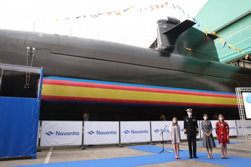 <span style='color:#780948'>ARCHIVED</span> - Spanish Royal Family launch the first S-80 Plus submarine at Cartagena shipyard