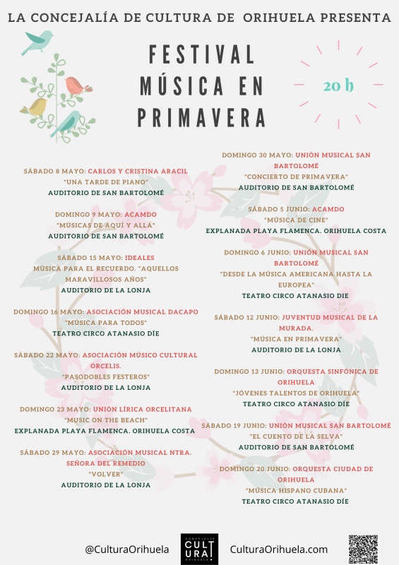 Musica en Primavera; 14 free entry concerts in Orihuela throughout May and June