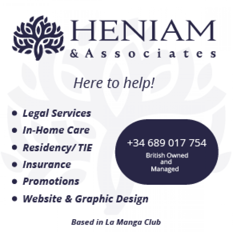 Heniam & Associates La Manga Club providing legal advice, conveyancing, paperwork services and In-Home Care