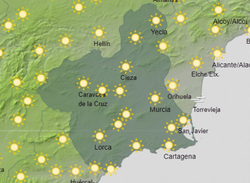 <span style='color:#780948'>ARCHIVED</span> - 33 degrees forecast for Murcia on Friday!