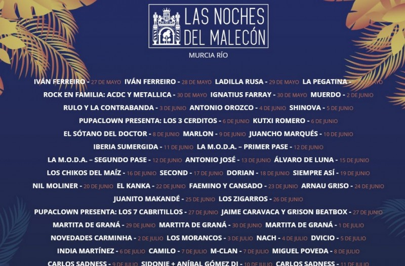 <span style='color:#780948'>ARCHIVED</span> - Noches del Malecón brings live music between May and August in the city of Murcia