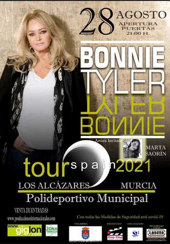 <span style='color:#780948'>ARCHIVED</span> - Bonnie Tyler tour reaches Los Alcazares on August 28
