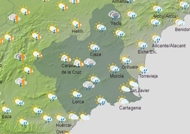 <span style='color:#780948'>ARCHIVED</span> - Storms and muddy rain forecast for Murcia on Wednesday and Thursday