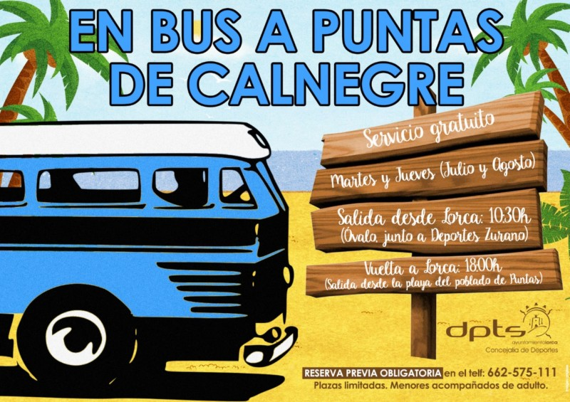 <span style='color:#780948'>ARCHIVED</span> -  Bus schedule from Lorca to Calnegre beach during July and August and public pool opening times