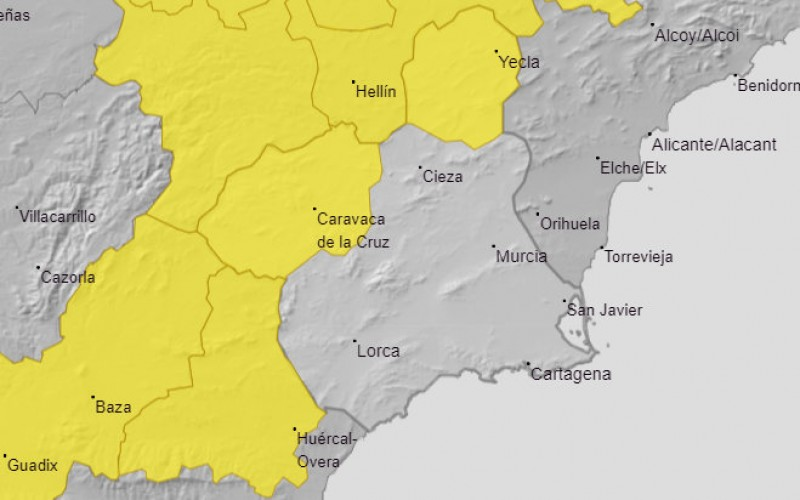 <span style='color:#780948'>ARCHIVED</span> - Yellow alert for thunderstorms in northern Murcia on Monday