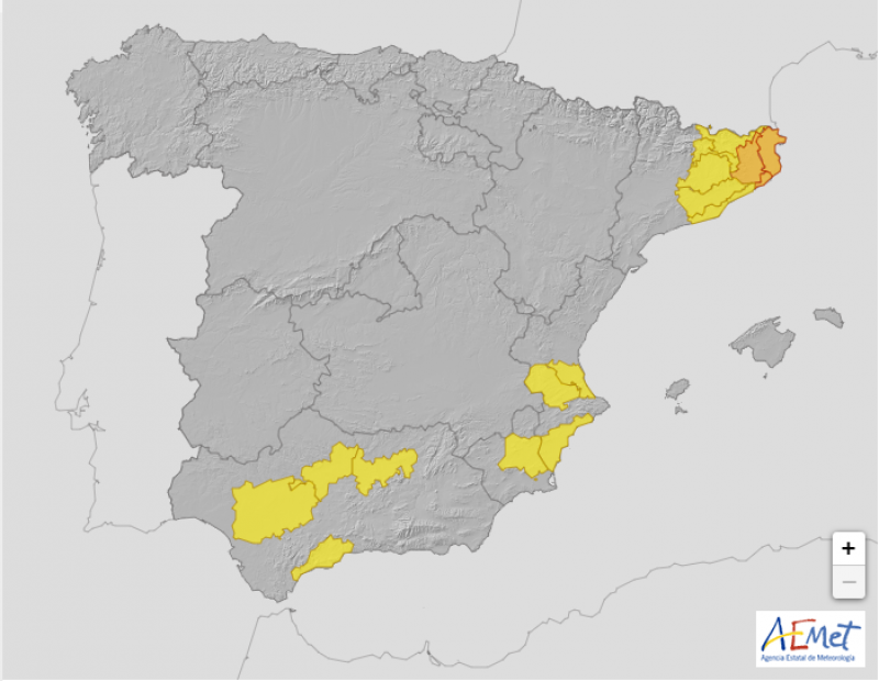 <span style='color:#780948'>ARCHIVED</span> - Yellow heat warning for temperatures of 38 in Murcia, Wednesday, August 4