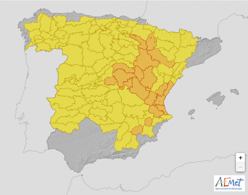 <span style='color:#780948'>ARCHIVED</span> - Orange weather warning for central Spain and Costa Blanca on Wednesday