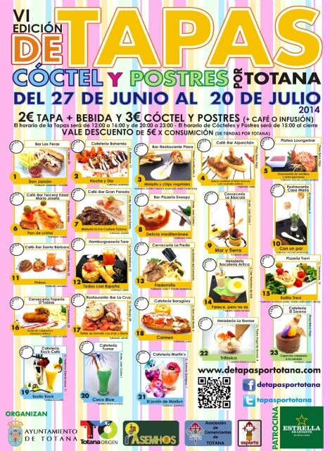 <span style='color:#780948'>ARCHIVED</span> - 27th June to 20th July, Totana Tapas, cocktail and desserts route