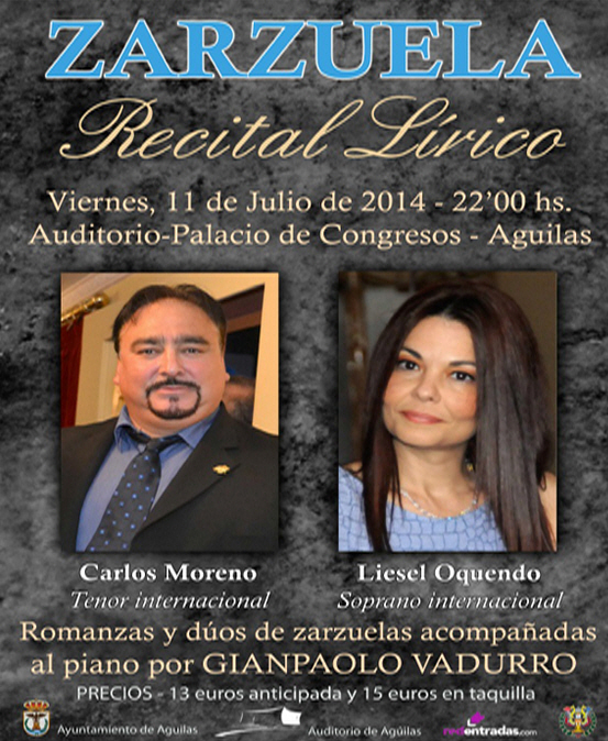 <span style='color:#780948'>ARCHIVED</span> - 11th July, Tenor and Soprano Recital at the Auditorio Infanta Elena in Águilas
