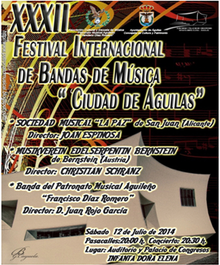 <span style='color:#780948'>ARCHIVED</span> - 12th July, international town bands festival at the Auditorio Infanta Elena in Águilas