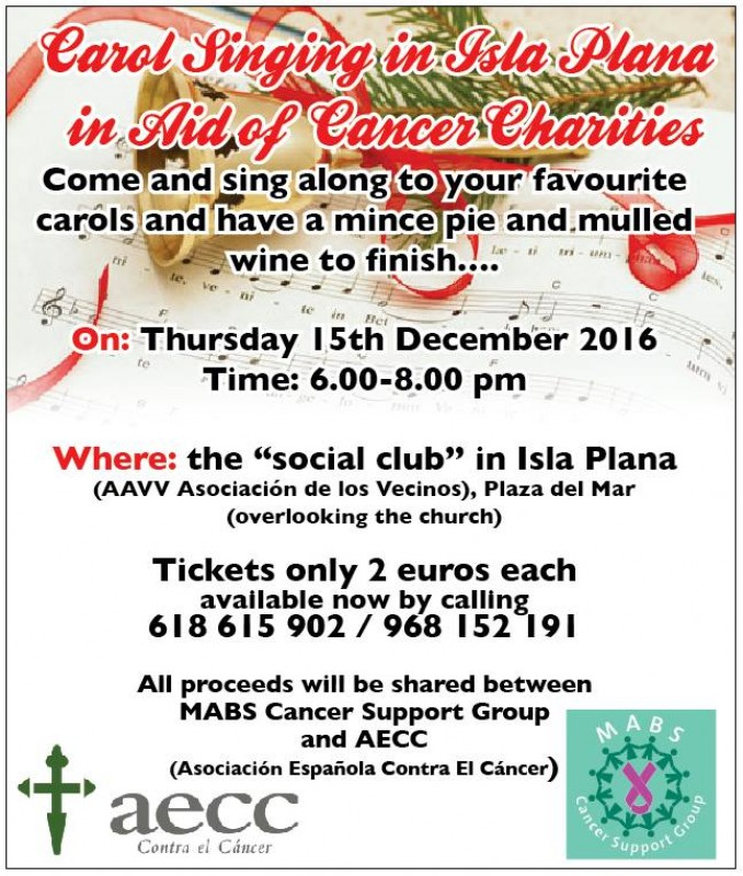 <span style='color:#780948'>ARCHIVED</span> - 15th December, Carol singing in aid of local cancer charities, Isla Plana